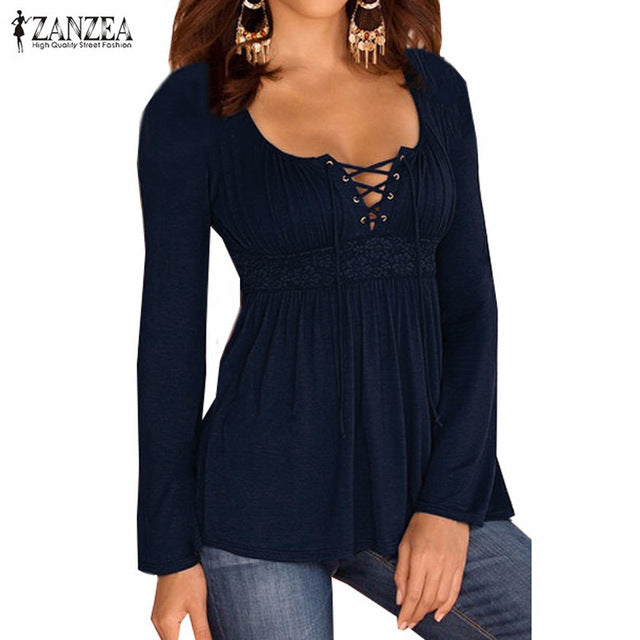 2018 Autumn Sexy Blouse Tops V Neck Long Sleeve Lace Splice Solid Blusas Shirt Casual Plus Size Blouses Oversized ZANZEA Women