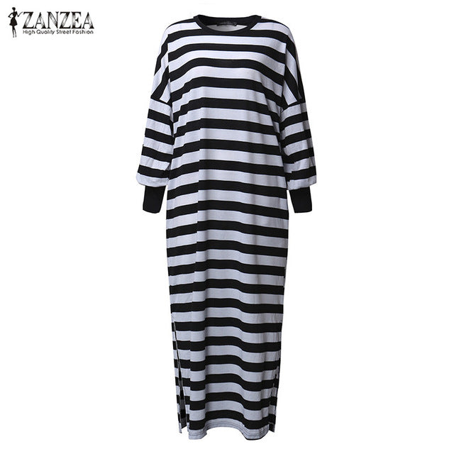 Newest 2018 ZANZEA Women Striped Dress Vintage Long Batwing Sleeve O Neck Casual Loose Split Maxi Long Dress Plus Size Vestidos
