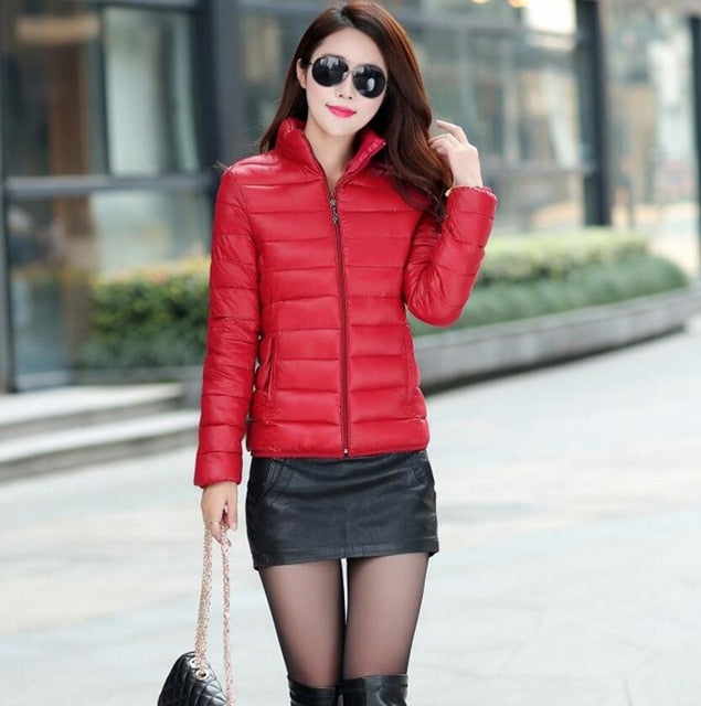 OAIRED Winter Jacket Coat Women 2018 New Winter Women Parka Short Slim Thickening Down Cotton-padded Jacket Female Outerwear Red