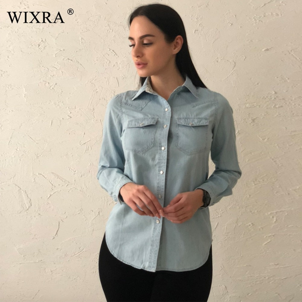 Wixra Fashion Cotton Denim Women Blouses Long Sleeve Shirts Women Tops Jeans Blouse Female Casual Women Clothing With Pocaket