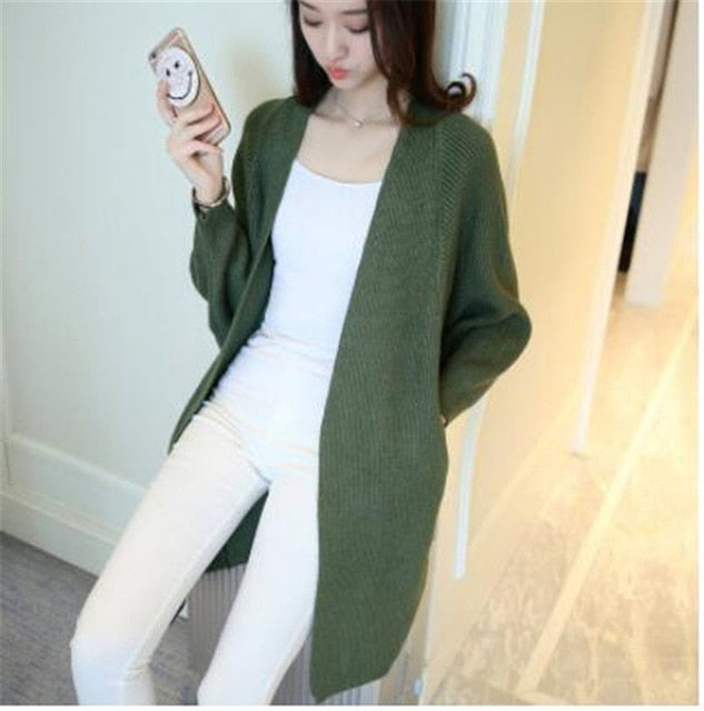 9 Colors Batwing Sleeve Long Cardigan Sweaters Women 2017 Fall Autumn Winter Casual Knit Loose Jumper Outwear Oversize Cardigan