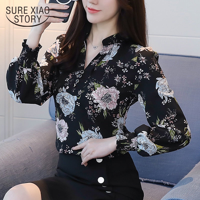 2018 new spring long sleeved blouses fashion slim casual print plus size elegant OL style women shirts chiffon clothing D556 30