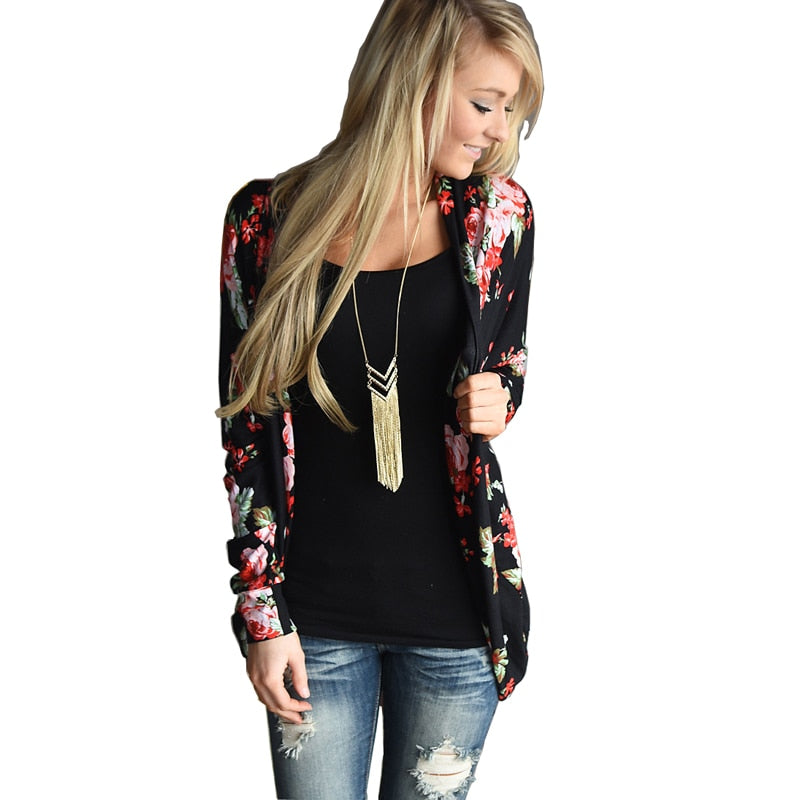 2018 Floral Print Autumn Long Sleeve Women Cardigan Plus Size Loose Casual Open Stitch Vintage Oversize Female Coat Sweater
