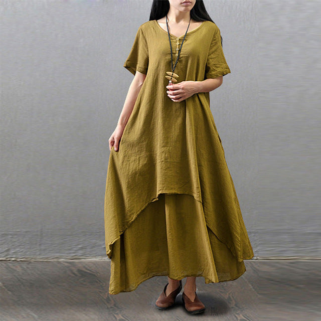 3xl 4xl 5xl Loose Cotton Linen Maxi Dress Plus Size Breathe Freely O-Neck Long Sleeve Dresses Boho Casual Solid Irregular Robe