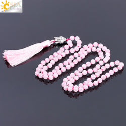 CSJA Bohemian Natural Stone Pink Crystal Quartz Boho 108 Mala Necklaces for Women Energy Reiki Buddha Charm Tassel Necklace F178