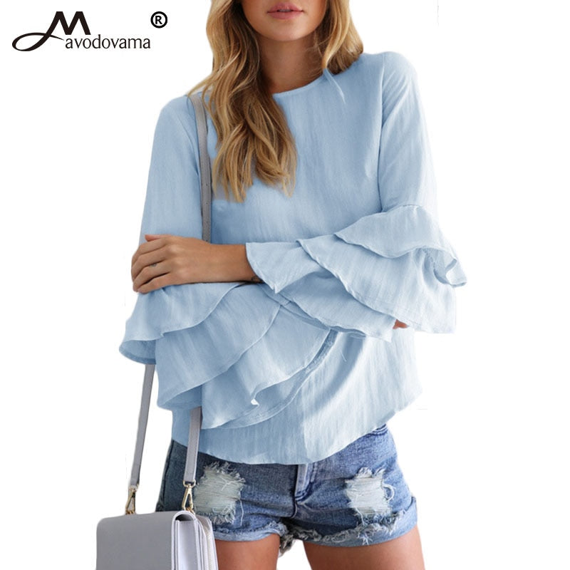 Avodovama M 2018 Women Solid O Neck Long Sleeve Butterfly Sleeve Shirts Fashion Casual Streetwear Blouse