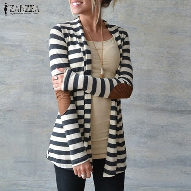 2018 Spring Autumn ZANZEA Women Casual Cotton Blend Striped Thin Coat Cardigan Jacket Ladies Casual Loose Outwear Plus Size 5XL