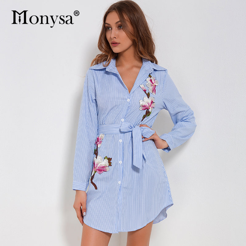 Embroidery Dresses For Women 2018 Autumn New Arrivals Striped Long Sleeve Casual Dress Ladies Chiffon Floral Shirt Dresses Blue