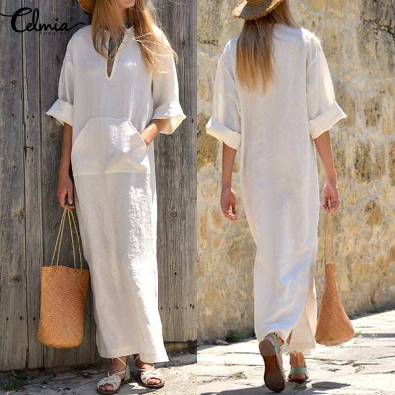 2018 Celmia Vintage Linen Long Dresses Women Sexy Casual Dress Oversized Spring Autumn Long Sleeve V Neck Split Vestidos M-3XL