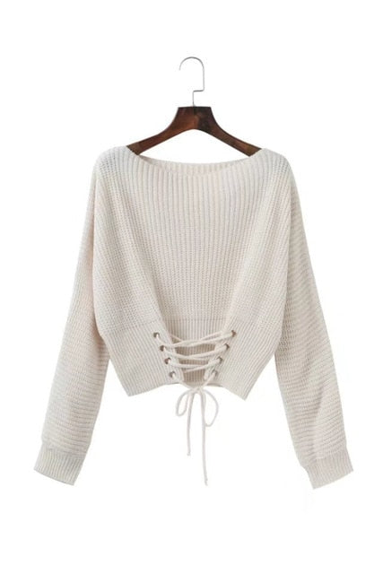 Hirsionsan Autumn Lace Up Sweater Women 2018 New Knitted Women Sweaters and Pullovers Solid Jumper Adjust Waist Bandage Sweater