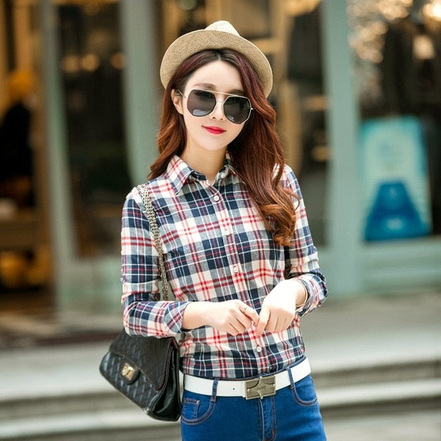 2018 Spring New Fashion Casual Lapel Plus Size Blouses women plaid shirt Checks Flannel Shirts Female Long Sleeve Tops Blouse