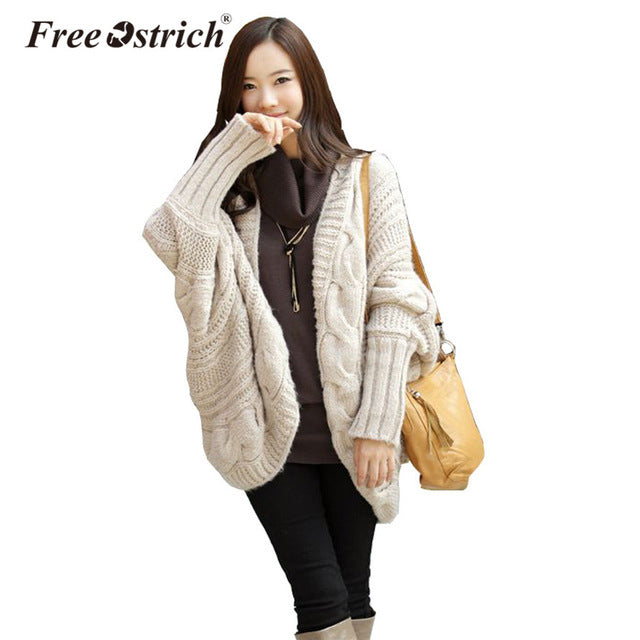 Free Ostrich 2018 Autumn Winter Knitted Cardigans Coat Women Long Sleeve Batwing Poncho Sweater Crochet Cardigan Oct2032