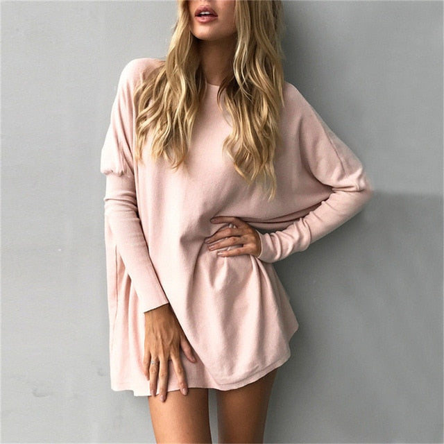 Autumn Women Long Sleeve Blouse Casual Solid O-Neck Loose Basic Shirts Batwing Sleeve Long Pullover Comfortable Blusas Plus Size