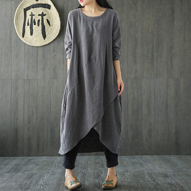 Plus Size ZANZEA Women Spring Crew Neck Long Sleeve Asymmetric Split Kaftan Solid Cotton Linen Mid Calf Dress Tunic Vestido