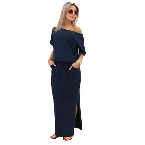Women Sexy Long dress Maxi Summer Dress Side Split Loose Dress Short Sleeve Evening Party Dress with Pocket vestidos verano 2018