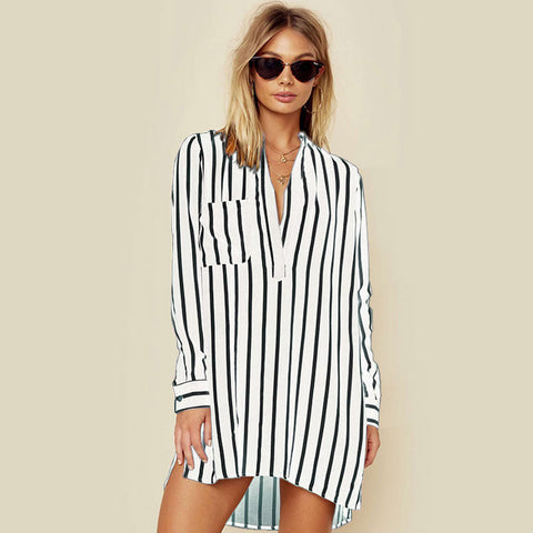 ZANZEA 2018 NEW Summer Oversized S-5XL Leisure Long Sleeve High Low Hem Short Vestido Women Sexy Deep V Neck Striped Mini Dress
