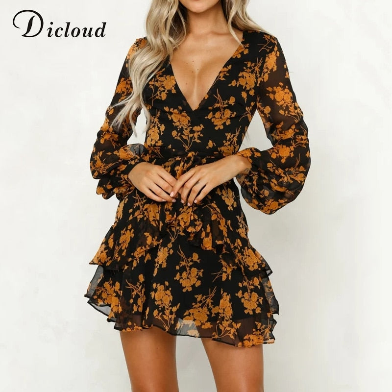 DICLOUD 2018 summer autumn women chiffon dress see through long sleeve floral printed dresses v neck short mini vestido female