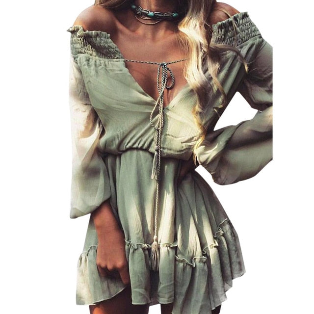 Feitong Boho Autumn Women Dresses Casual Loose Long Sleeve Chiffon Dress Sexy Off Shoulder Mini Dress vestidos femininos 2018