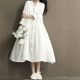 Johnature Cotton Linen White Color Women Dress 2018 Spring New Long Sleeve Stand Neck Loose Bat Sleeve Irregular Dresses