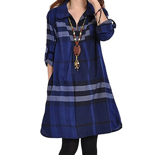 Women summer casual a-line dress slim long sleeve blue plaid turn-down collar dress fashion patchwork girl mini plus size dress
