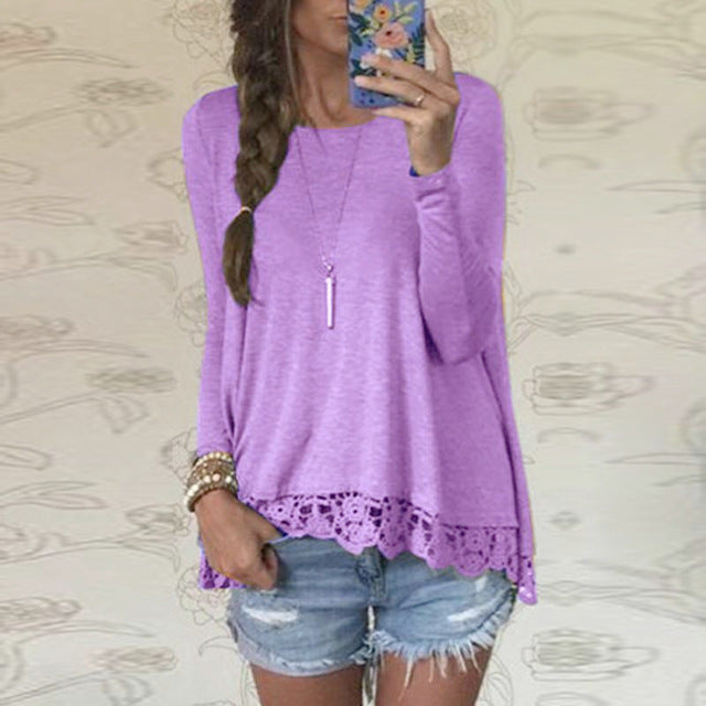 Autumn Blouse 2018Fashion Women Long Sleeve O-Neck Casual Tops Sexy Lace Crochet Blusas Shirts Plus Size