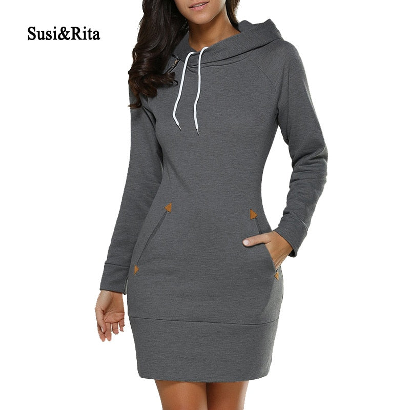 Susi&Rita 2018 Autumn Hooded Dresses Women Pocket Long Sleeve Mini Hoodie Dress Plus Size Winter Casual  Clothings Vestidos