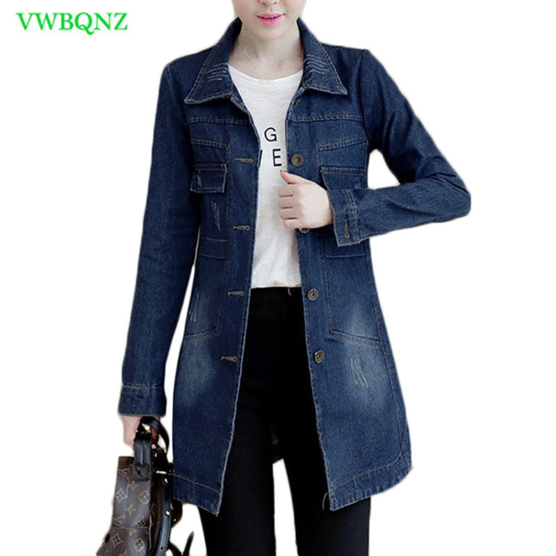 Autumn Winter Korean Denim Jacket Women Slim Long Base Coat Women's Frayed Navy Blue Plus size Jeans Jackets Coats Cool 5XL A364