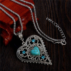 2015 New blue heartstone pendant silver chain crystal vintage heart long necklaces women collier femme