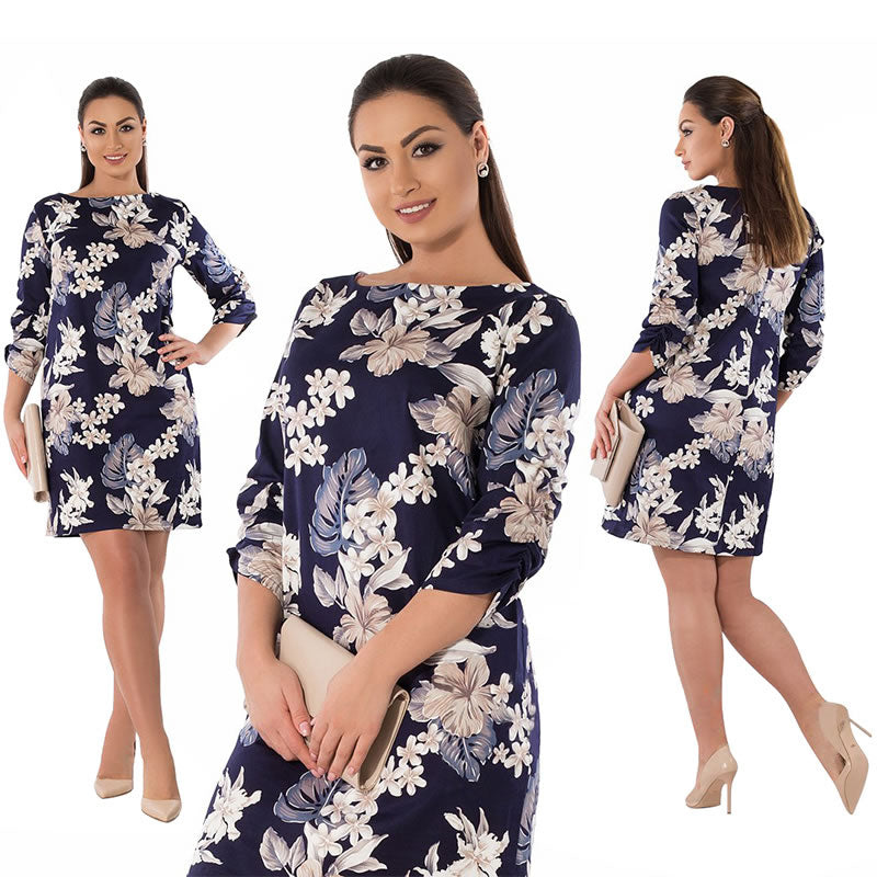 2018 Winter Dress Plus Size Women Clothing Elegant Floral Printed Dress Big Size Office Work Dress 5XL 6XL Party Dress Vestidos