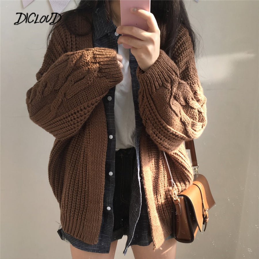 DICLOUD New Autumn Knit Sweater Women 2018 Fashion Harajuku Loose Warm Cardigan Women College Casual Long Sleeve Winter Coat