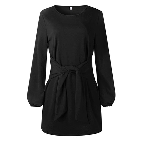 2018 robe femme Women Dress Female Casual Bow Lantern Sleeve Autumn Short Dress Long Sleeve Dress Solid Ladies Dresses