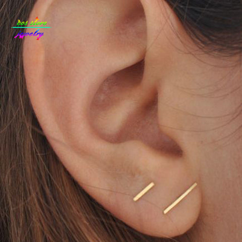 Minimalist Gold Bar Stud Earrings Dainty Gold Or Silver - Bohemian Gift Stores