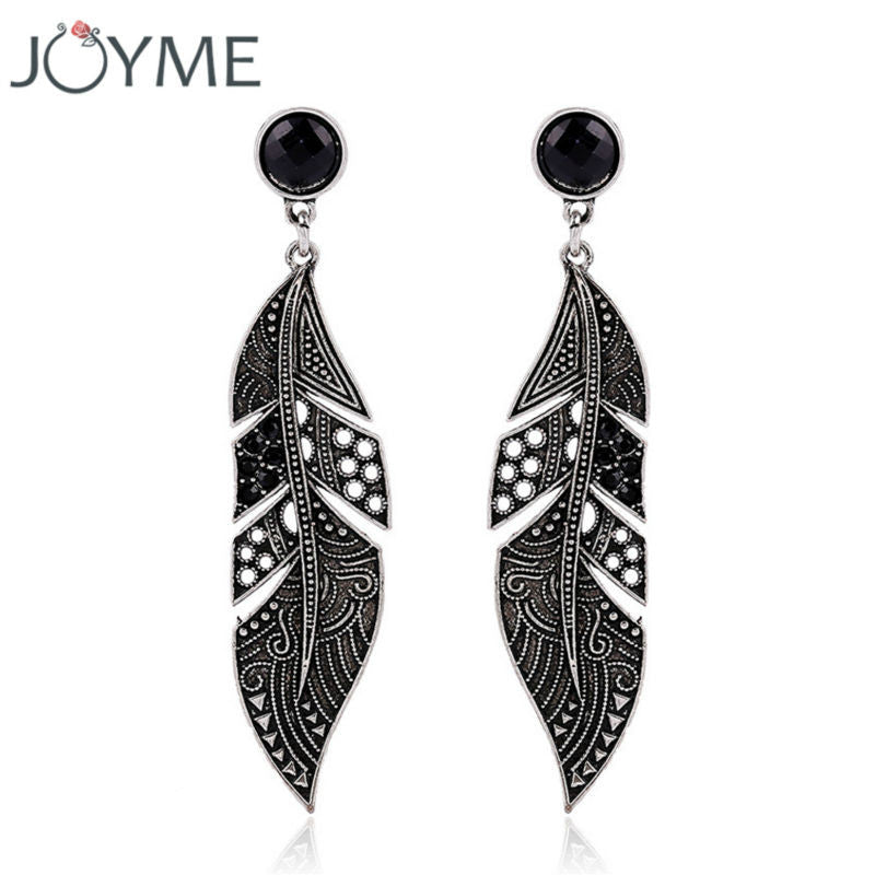 New Arrival Elegant Bohemian Vintage Feather Earring Summer Style Black Drop Earring Accessories For Women