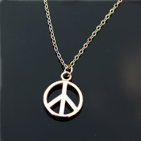 Love Silver Plated Small Peace Pendants Necklace For Women Chain Jewelry - Bohemian Gift Stores