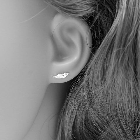 Real 925 Sterling Silver Feather Stud Earrings for Women Girls Fashion sterling-silver-jewelry - Bohemian Gift Stores