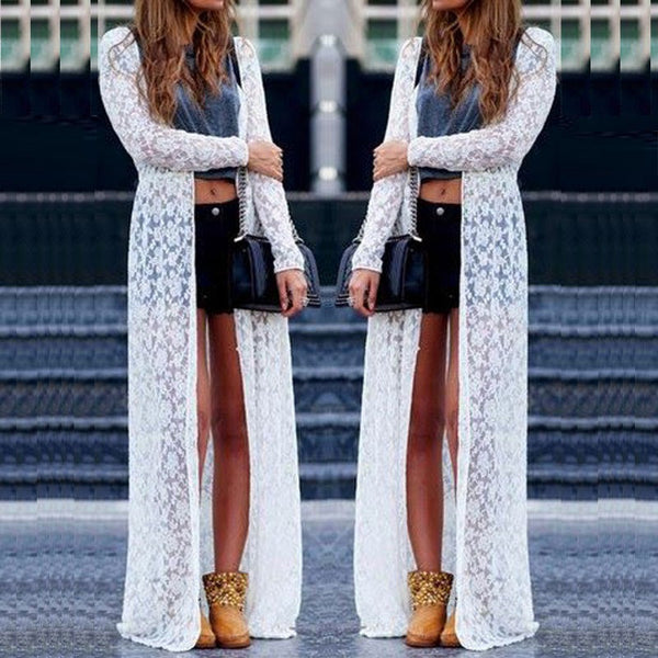 Plus Size Lace Long Sleeve Beach Kimono Cardigan Casual Loose Long Blouses 6 Colors - Bohemian Gift Stores