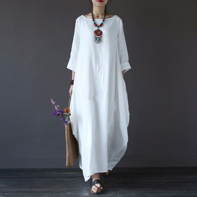 SHENGPALAE 2018 Autumn Plus Size Dresses Women 4xl 5xl Loose large size Dress O-neck White Boho Dress Long Sleeve Maxi Robe new