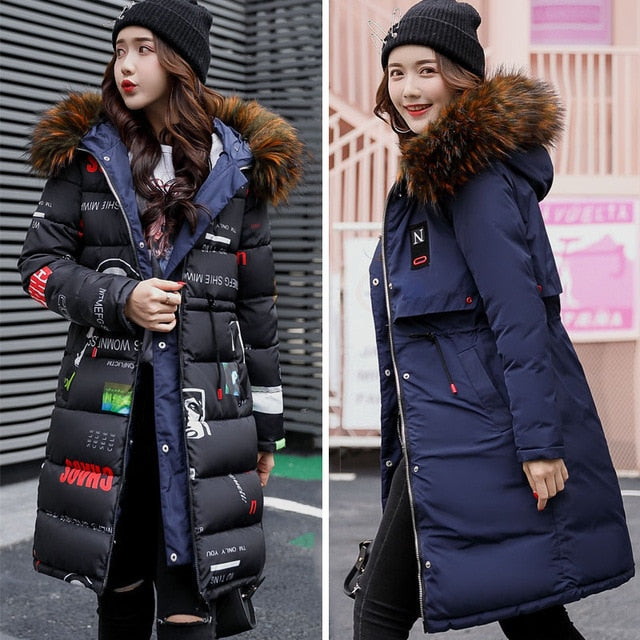 2018 New Arrival Winter Jacket Women Long Cotton Padded Outerwear Womens Coat Parka With Colorful Fur Female Hooded Jackets