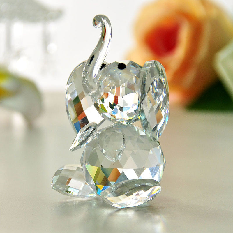 40mm Clear Elephant K9 Crystal Glass Crystal Figurines Crafts Collection Table Car Ornaments Souvenir Home Wedding Gifts Decor - Bohemian Gift Stores