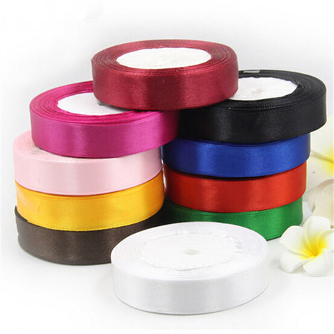 25mm 25 Yard Pretty Silk Satin Ribbon 22M Wedding Party Decoration Invitation Card Gift Wrapping Scrapbooking - Bohemian Gift Stores