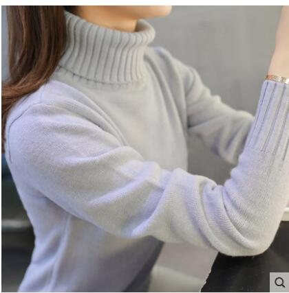 Autumn winter Women Knitted Sweaters 2018 fashion Thick Warm Pullovers Turtleneck Long Sleeve Solid Color Sweaters Female Tops