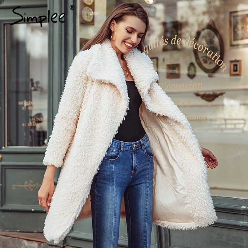 Simplee Warm winter faux fur coat women Fashion streetwear elegant long coat female 2018 Pink shaggy autumn coat outerwear