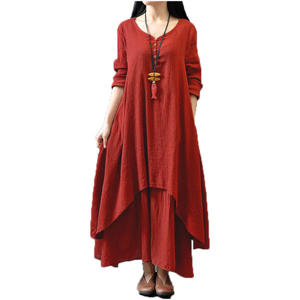 Women Casual Loose Long Sleeve Dress Cotton Linen Solid Long Maxi Dress Vestidos Plus Size S-5XL - Bohemian Gift Stores