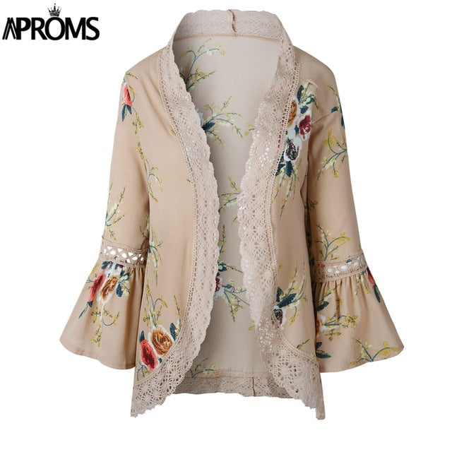 Aproms Flare Sleeve Crochet Lace Chiffon Coat Women 3/4 Sleeve Floral Print Kimono Ladies Casual Autumn Open Front Outwear Tops