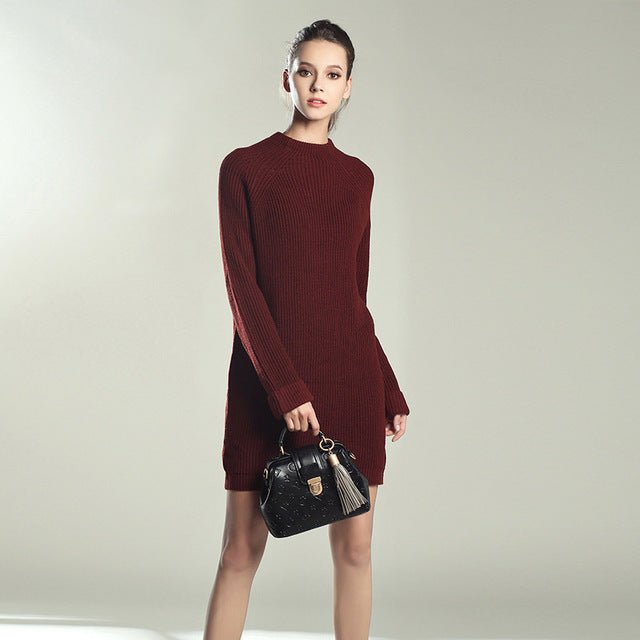 Autumn Winter Solid Knitted Cotton Sweater Dresses Women Fashion Loose O-neck Pullover Female Knitted Dress Vestidos Feminino