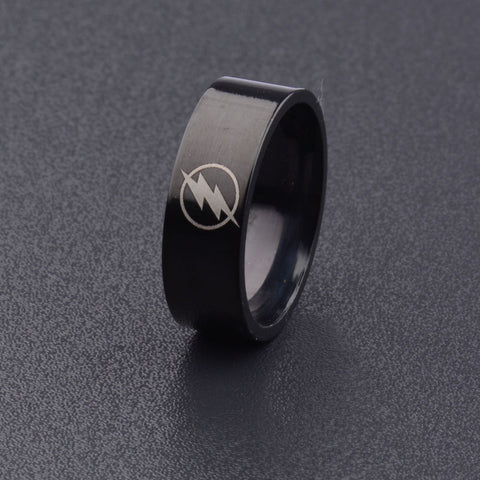 Titanium Boys Men Black The Flash Symbol Stainless Steel Polished Ring Cocktail Wedding Jewelry - Bohemian Gift Stores