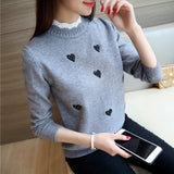 Neploe Autumn New Pullover Short Knitted Tops Women Korean Lace Collar Sweater Lady Embroidery Temperament Slim Knitwear 65958