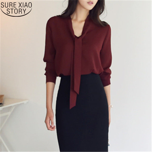 2018 autumn women clothing long sleeve bow tie women shirts Korean loose chiffon blouse shirt women solid color blouse 699C  30