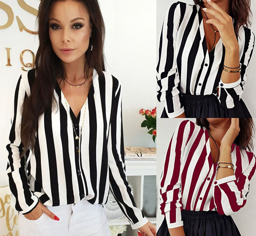New Fashion Women V-Neck Blouse Shirt Loose Long Sleeve Female Sexy Striped Tops Shirt Blusas Feminine Blouses New Arrival