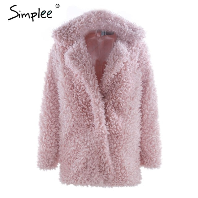 Simplee Warm winter faux fur coat women Fashion streetwear large sizes  long coat female 2018  Pink casual autumn coat outerwear